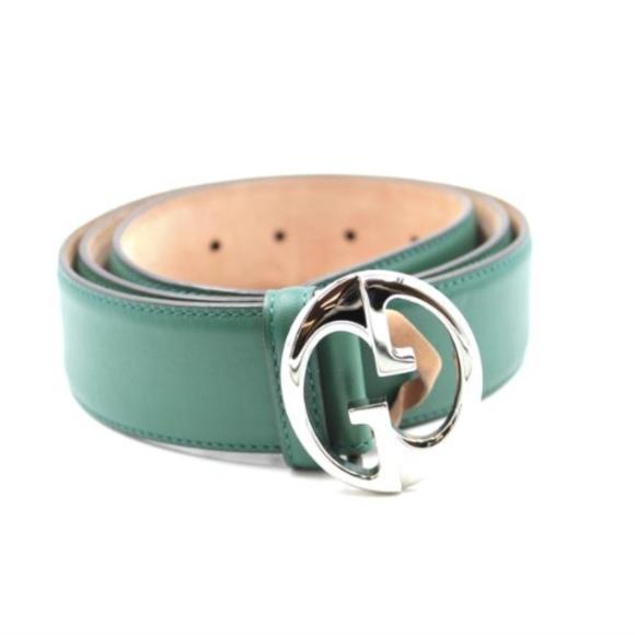 41b21042b930 Gucci Accessories   Green On Natural Rare Gg Logo Silver Buckle Belt ...